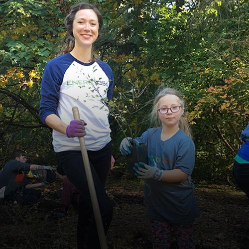Cheryl planting trees